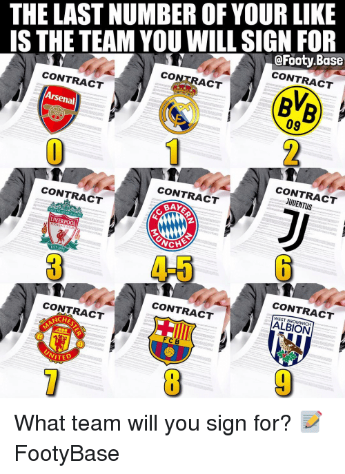 fcb: THE LAST NUMBER OF YOUR LIKE  IS THE TEAM YOU WILL SIGN FOR  @Footy.Base  CONTRACT  CONTRACT  BVB  2  CONTRACT  09  Arsenal  CONTRACT  JUUENTUS  CONTRACT  CONTRACT  BAY  YOULL NEVER WALK ALONE  LIVERPOOL  FOOTBALL CLUB  4-5  EST, 1899  CONTRACT  WEST BROMWICH  CONTRACT  CONTRACT  CHES  FCB What team will you sign for? 📝 FootyBase