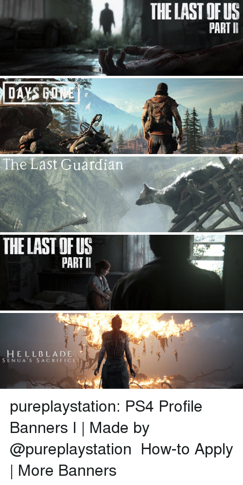 banners: THE LAST OFUS  PART I   The Last Guardian   THE LAST OF US  PART I   HELLBLADE  SENUA S SACRIFICE pureplaystation:    PS4 Profile Banners   I| Made by @pureplaystation  How-to Apply | More Banners