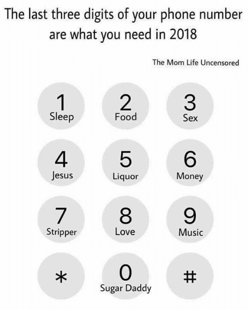 Uncensored: The last three digits of your phone number  are what you need in 2018  The Mom Life Uncensored  3  6  9  Sleep  Food  Sex  4  Jesus  5  8  0  quor  Money  Stripper  Love  Music  Sugar Daddy