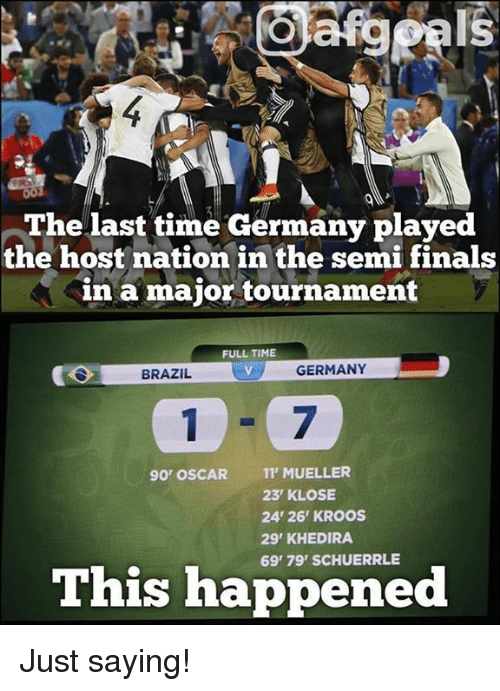 khedira: The last time Germany played  the host nation in the semi finals  in a major tournament  FULL TIME  GERMANY  BRAZIL  90' OSCAR  11 MUELLER  23 KLOSE  24' 26' KROOS  29 KHEDIRA  This happened Just saying!