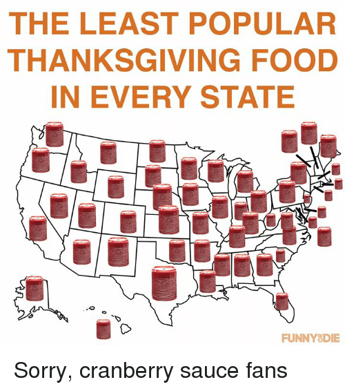 cranberry: THE LEAST POPULAR  THANKSGIVING FOOD  IN EVERY STATE  TD  FUNNYSDIE Sorry, cranberry sauce fans