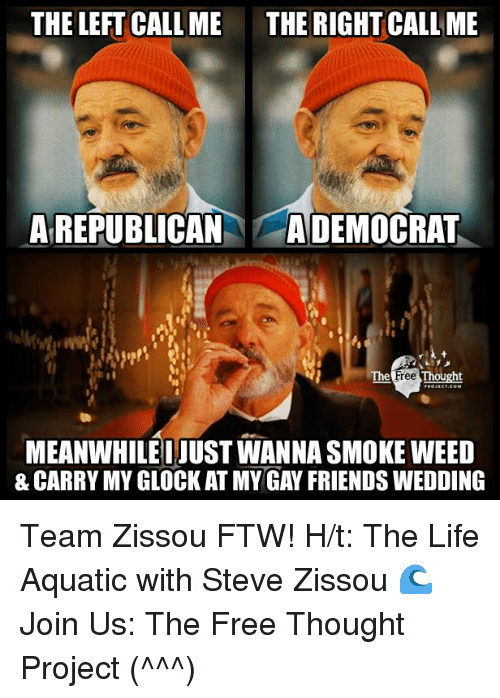 Ftw, Memes, and 🤖: THE LEFT CALL ME THE RIGHT CALL ME  A REPUBLICAN  A DEMOCRAT  Free  Thought  MEANWHILE IJUSTWANNASMOKE WEED  & CARRY MY GLOCK AT MY GAY FRIENDS WEDDING Team Zissou FTW!   H/t: The Life Aquatic with Steve Zissou 🌊 Join Us: The Free Thought Project (^^^)