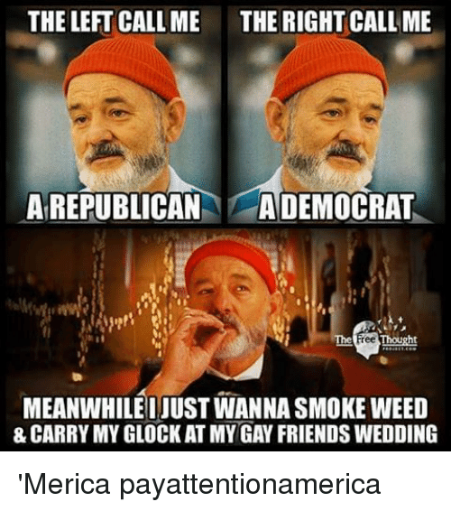 Smoke Weed: THE LEFT CALL ME THE RIGHT CALL ME  A REPUBLICAN  A DEMOCRAT  ree Thought  MEANWHILE JUST WANNA SMOKE WEED  & CARRY MYGLOCKAT MY GAY FRIENDS WEDDING 'Merica payattentionamerica
