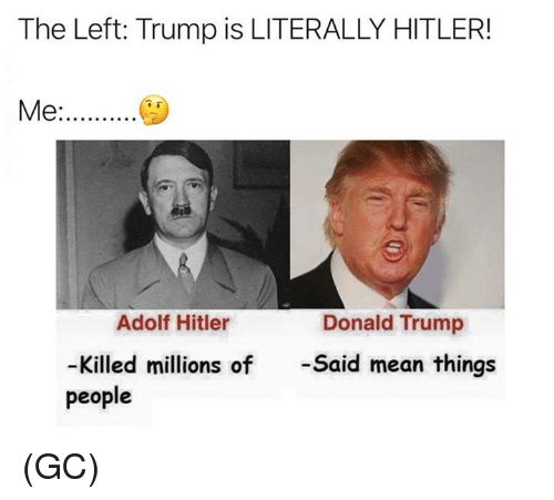 Donald Trump, Memes, and Hitler: The Left: Trump is LITERALLY HITLER!  Me.  Adolf Hitler  Donald Trump  Killed millions of  -Said mean things  people (GC)
