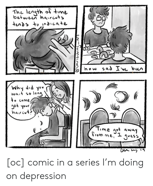 Haircuts: The lengt oime  between haircuts  Why 4  wa, so long  Time aot away [oc] comic in a series I'm doing on depression