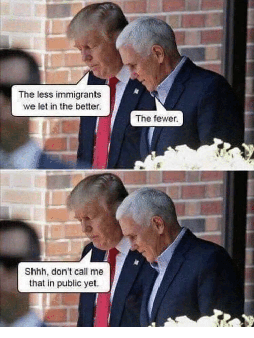 Dont Call Me: The less immigrants  we let in the better  The fewer.  Shhh, don't call me  that in public yet.