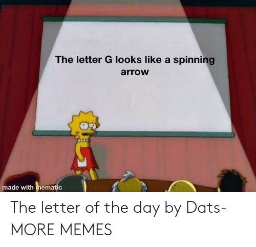 spinning: The letter G looks like a spinning  arrow  made with mematic The letter of the day by Dats- MORE MEMES