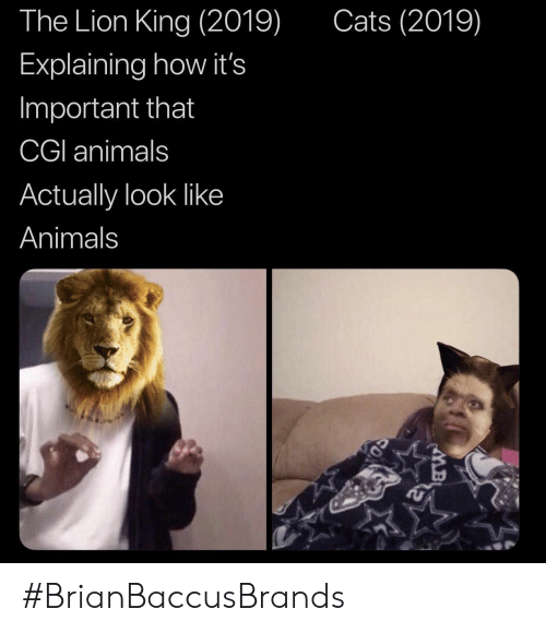 The Lion King: The Lion King (2019)  Cats (2019)  Explaining how it's  Important that  CGI animals  Actually look like  Animals #BrianBaccusBrands