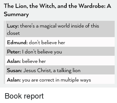 argumentative essay on the lion the witch and the wardrobe Would you be scared traveling in a strange, cold land chapters 9 and 10 of 'the  lion, the witch, and the wardrobe', by cs lewis, follow peter, susan,.