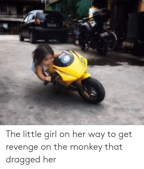 little girl: The little girl on her way to get revenge on the monkey that dragged her