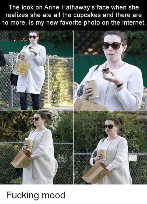 Cupcakes: The look on Anne Hathaway's face when she  realizes she ate all the cupcakes and there are  no more, is my new favorite photo on the internet. Fucking mood