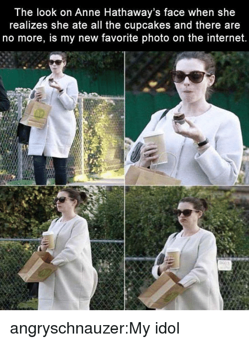 Cupcakes: The look on Anne Hathaway's face when she  realizes she ate all the cupcakes and there are  no more, is my new favorite photo on the internet. angryschnauzer:My idol