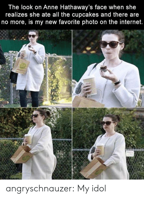 Cupcakes: The look on Anne Hathaway's face when she  realizes she ate all the cupcakes and there are  no more, is my new favorite photo on the internet. angryschnauzer: My idol