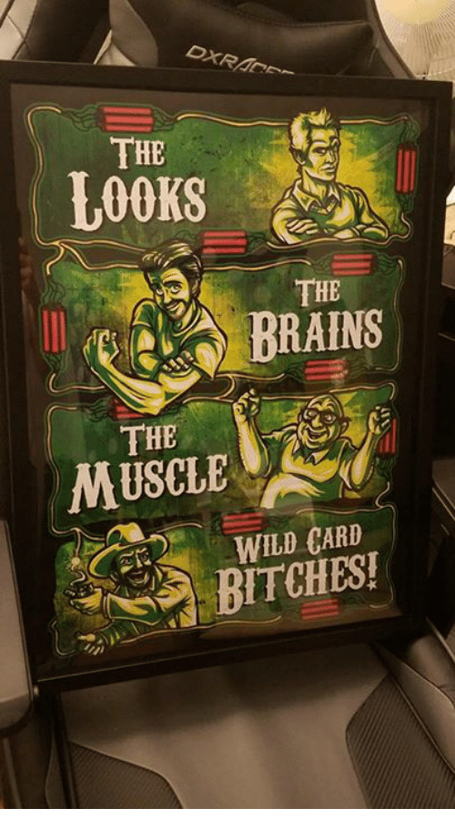 Memes, Wild, and 🤖: THE  LOOKS  THE  THE  MUSCLE  WILD CARD  BITCHES!