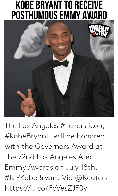 Los Angeles Lakers: The Los Angeles #Lakers icon, #KobeBryant, will be honored with the Governors Award at the 72nd Los Angeles Area Emmy Awards on July 18th. #RIPKobeBryant Via @Reuters https://t.co/FcVesZJF0y