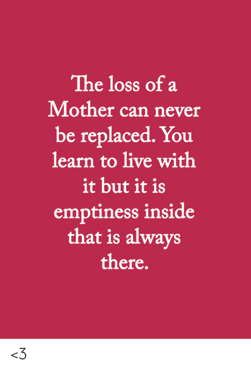 The Loss: The loss of a  Mother can never  be replaced. You  learn to live with  it but it is  emptiness inside  that is always  there. <3