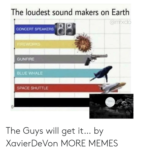 The Guys: The loudest sound makers on Earth  @mrxdo  CONCERT SPEAKERS  FIREWORKS  GUNFIRE  BLUE WHALE  SPACE SHUTTLE The Guys will get it… by XavierDeVon MORE MEMES