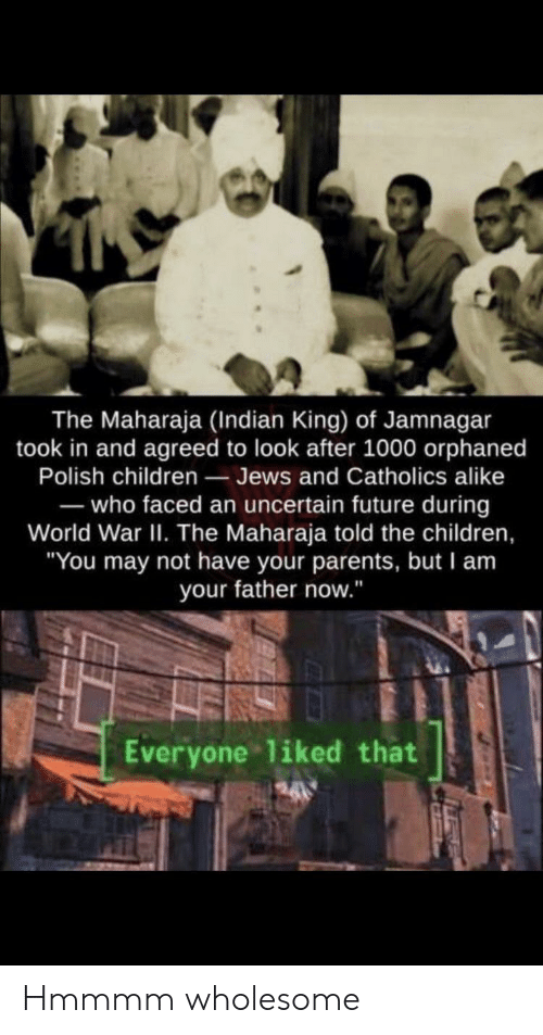 "Hmmmm: The Maharaja (Indian King) of Jamnagar  took in and agreed to look after 1000 orphaned  Polish children Jews and Catholics alike  -who faced an uncertain future during  World War II. The Maharaja told the children,  ""You may not have your parents, but I am  your father now.""  Everyone liked that Hmmmm wholesome"