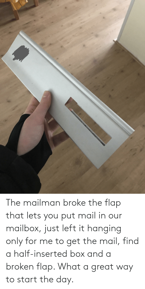 flap: The mailman broke the flap that lets you put mail in our mailbox, just left it hanging only for me to get the mail, find a half-inserted box and a broken flap. What a great way to start the day.