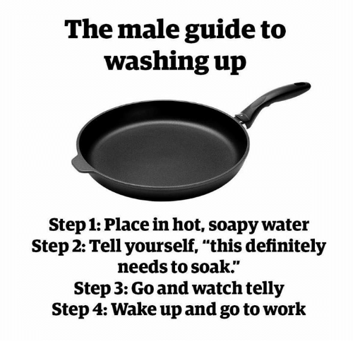 "Dank, Definitely, and Work: The male guide to  washing up  Step 1: Place in hot, soapy water  Step 2: Tell yourself, ""this definitely  needs to soak.""  Step 3: Go and watch telly  Step 4: Wake up and go to work"