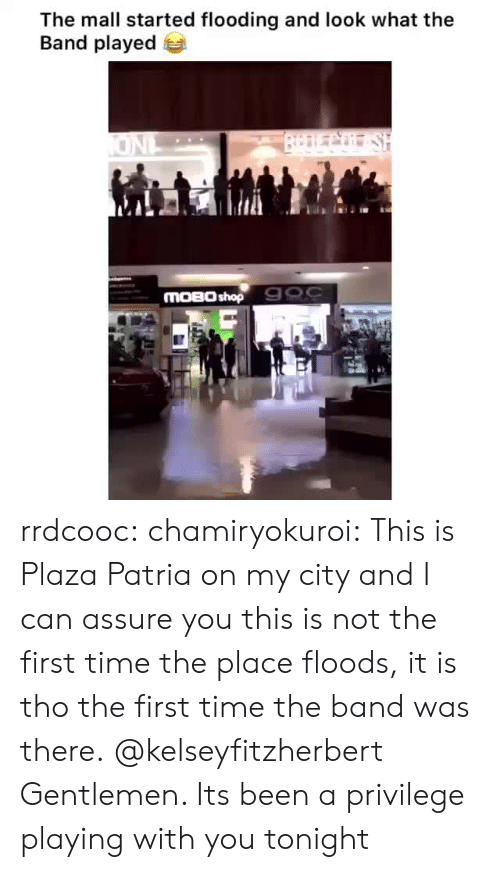 Flooding: The mall started flooding and look what the  Band played  BrDLCo SH  ONL  MOBO shop 900 rrdcooc:  chamiryokuroi: This is Plaza Patria on my city and I can assure you this is not the first time the place floods, it is tho the first time the band was there. @kelseyfitzherbert  Gentlemen. Its been a privilege playing with you tonight