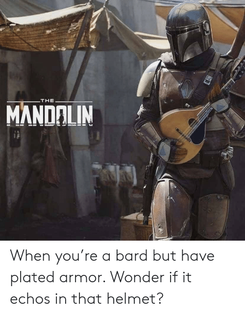 plated: THE  MANDALIN When you're a bard but have plated armor. Wonder if it echos in that helmet?