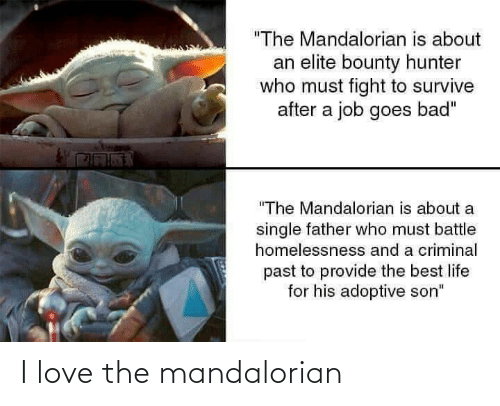 "criminal: ""The Mandalorian is about  an elite bounty hunter  who must fight to survive  after a job goes bad""  ""The Mandalorian is about a  single father who must battle  homelessnesss and a criminal  past to provide the best life  for his adoptive son"" I love the mandalorian"
