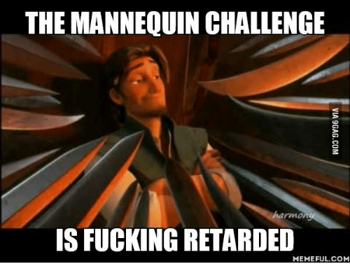 retard meme: THE MANNEQUIN CHALLENGE  IS FUCKING RETARDED  MEMEFUL COM