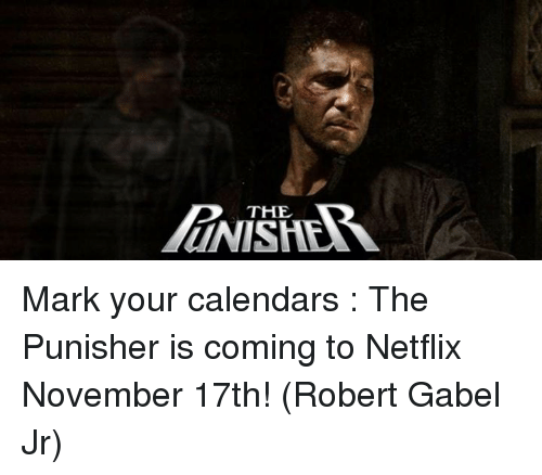 Punisher: THE Mark your calendars : The Punisher is coming to Netflix November 17th! (Robert Gabel Jr)