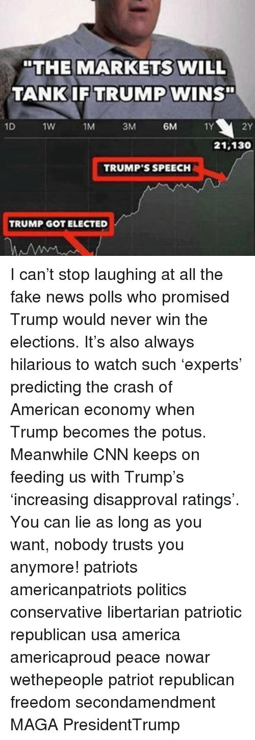 "Memes, 🤖, and Usa: ""THE MARKETS WILL  TANK IF TRUMP  WINS""  1D  1W  1M  3M  6M  21,130  TRUMP'S SPEECH  TRUMP GOT ELECTED I can't stop laughing at all the fake news polls who promised Trump would never win the elections. It's also always hilarious to watch such 'experts' predicting the crash of American economy when Trump becomes the potus. Meanwhile CNN keeps on feeding us with Trump's 'increasing disapproval ratings'. You can lie as long as you want, nobody trusts you anymore! patriots americanpatriots politics conservative libertarian patriotic republican usa america americaproud peace nowar wethepeople patriot republican freedom secondamendment MAGA PresidentTrump"