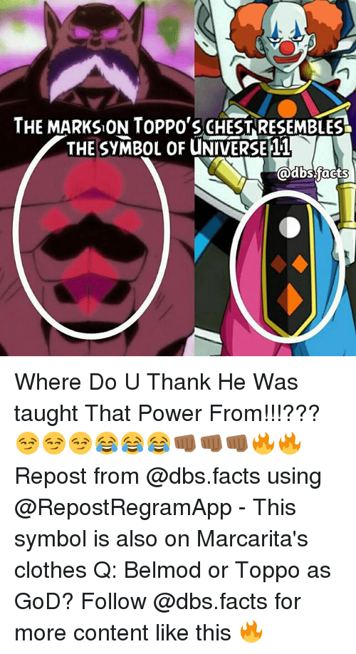 SIZZLE: THE MARKSON TOPPO'S CHESTRESEMBLES  THE SYMBOL OF UNIVERSE 11  @dbsjacts Where Do U Thank He Was taught That Power From!!!????????????????? Repost from @dbs.facts using @RepostRegramApp - This symbol is also on Marcarita's clothes Q: Belmod or Toppo as GoD? Follow @dbs.facts for more content like this ?