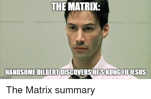 Dilbert: THE MATRIX.  HANDSOME DILBERT  KUNG FUJESUS  inngfip  com The Matrix summary