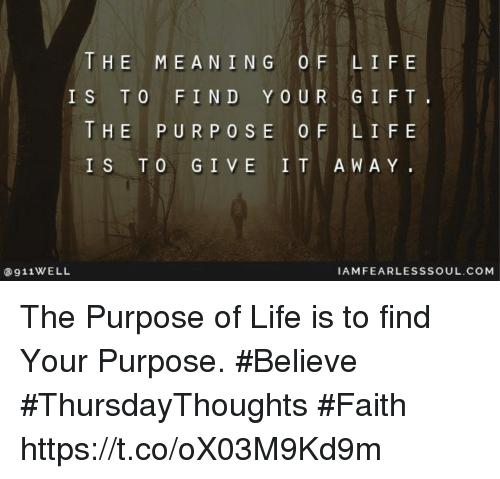 the meaning and purpose of life religion essay These are but a few of the questions this essay has explanations for  you view,  opinions, religion, and is not better than someone else's, nor is it worse  the  continuous cycle of life, the meaning of the human being, birth,.