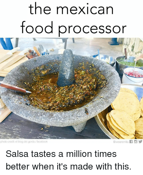 Memes, Blog, and Mexican Food: the mexican  food processor  photo credit el blog del gordo/facebook Salsa tastes a million times better when it's made with this.