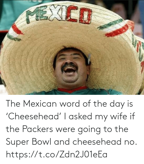 Packers: The Mexican word of the day is 'Cheesehead'  I asked my wife if the Packers were going to the Super Bowl and cheesehead no. https://t.co/Zdn2J01eEa