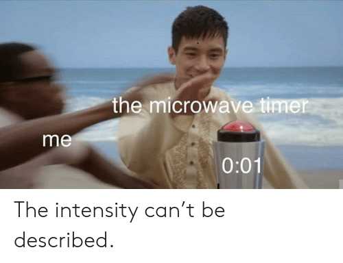 intensity: the microwave timer  me  0:01 The intensity can't be described.
