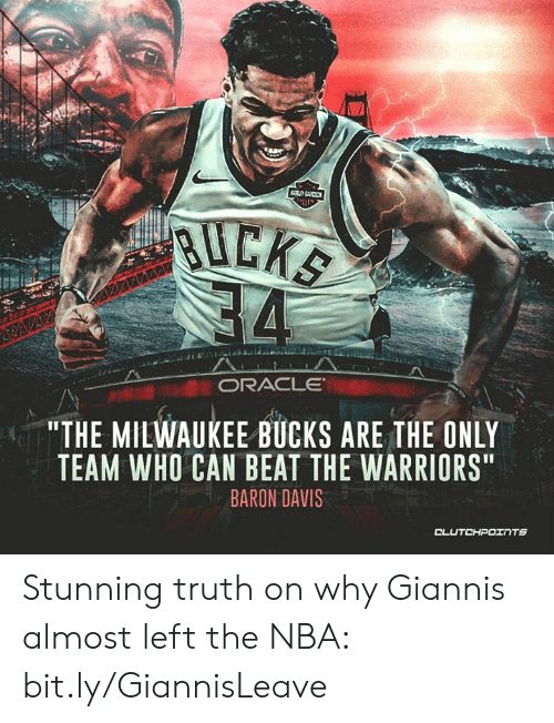 """Baron Davis: """"THE MILWAUKEE BUCKS ARE THE ONLY  TEAM WHO CAN BEAT THE WARRIORS  BARON DAVIS  TS Stunning truth on why Giannis almost left the NBA: bit.ly/GiannisLeave"""