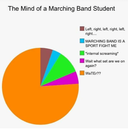 "Marching: The Mind of a Marching Band Student  Left, right, left, right, left,  right.  MARCHING BAND IS A  SPORT FIGHT ME  ■ *internal screaming""  ■ Wait what set are we on  again?  WaTEr?"