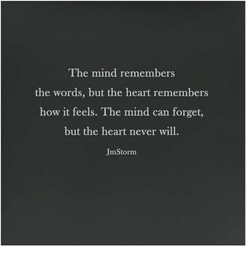 Memes, Heart, and Hearts: The mind remembers  the words, but the heart remembers  how it feels.  The mind can forget,  but the heart never will.  JmStorm
