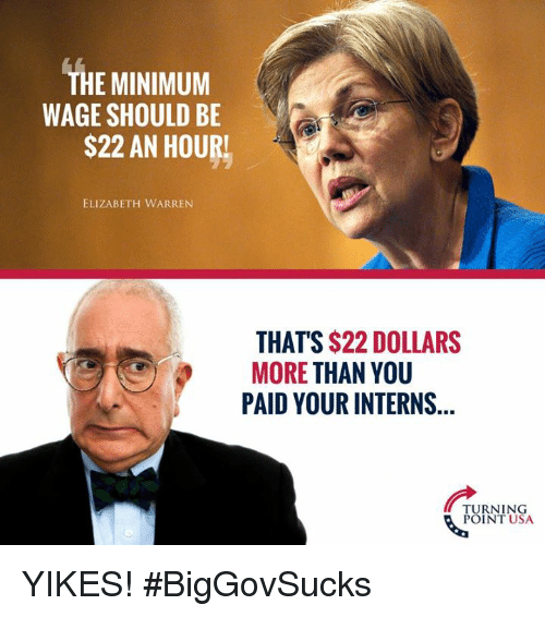 Elizabeth Warren: THE MINIMUM  WAGE SHOULD BE  S22 AN HOURL  ELIZABETH WARREN  THAT'S $22 DOLLARS  MORE THAN YOU  PAID YOUR INTERNS  TURNING  POINT USA YIKES! #BigGovSucks