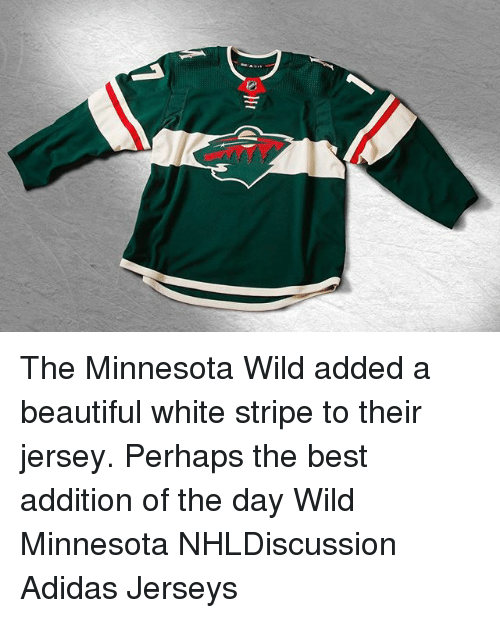 white stripes: The Minnesota Wild added a beautiful white stripe to their jersey. Perhaps the best addition of the day Wild Minnesota NHLDiscussion Adidas Jerseys