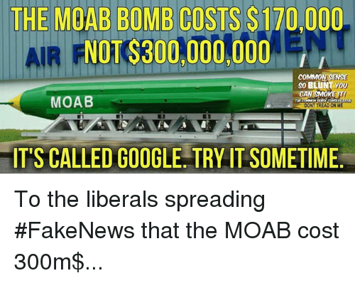Google, Memes, and 300: THE MOAB BOMB COSTS $170,000  PNOT$300,000,000  COMMON SENSE  so BLUNT YOU  AN SMOKE IT!  MOAB  THE COMMON  DONT TREAD ONIME  IT'S CALLED GOOGLE TRY IT SOMETIME To the liberals spreading #FakeNews that the MOAB cost 300m$...