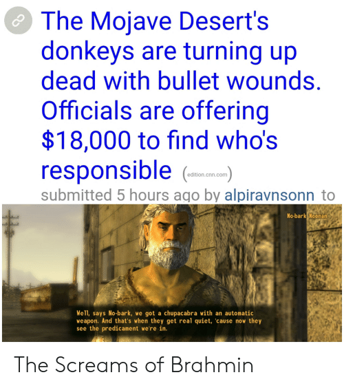 chupacabra: The Mojave Desert's  donkeys are turning up  dead with bullet wounds.  Officials are offering  $18,000 to find who's  responsible  edition.cnn.com  submitted 5 hours ago by alpiravnsonn to  No-bark Noonan  Well, says No-bark, we got a chupacabra with an automatic  weapon. And that's when they get real quiet, 'cause now they  see the predicament we're in. The Screams of Brahmin