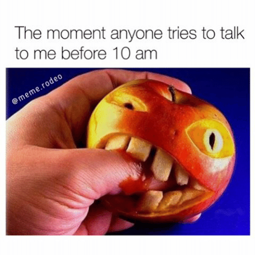 Memes, 🤖, and Moment: The moment anyone tries to talk  to me before 10 am