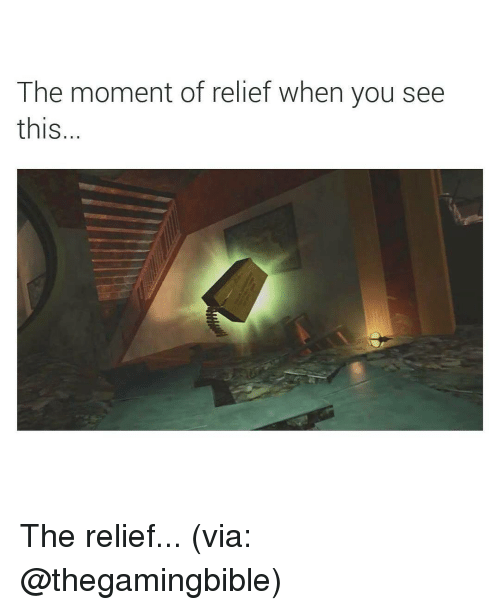 Memes, 🤖, and Via: The moment of relief when you see  thIS The relief... (via: @thegamingbible)