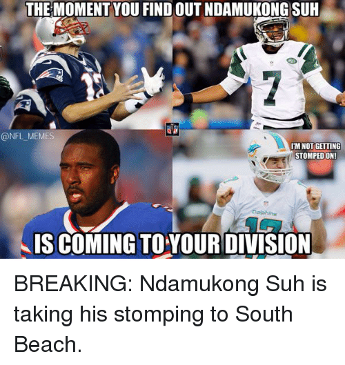 Nfl Mems: THE MOMENT YOU FIND OUT NDAMUKONG SUH  @NFL MEM  IM NOT GETTING  STOMPED ON!  IS COMING TO YOUR DIVISION BREAKING: Ndamukong Suh is taking his stomping to South Beach.