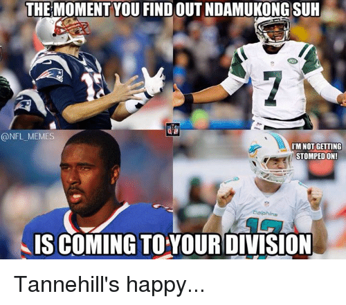 NFL: THE MOMENT YOU FIND OUT NDAMUKONG SUH  @NFL MEMES  IM NOT GETTING  STOMPED ON!  Dolphins  IS COMING TOYOURDIVISION Tannehill's happy...