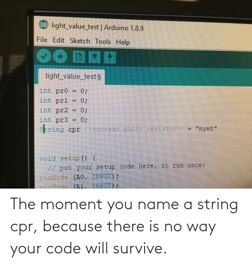 cpr: The moment you name a string cpr, because there is no way your code will survive.