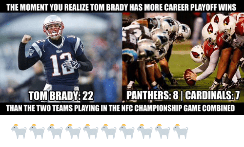 tom brady: THE MOMENT YOU REALIZE TOM BRADY HAS MORE CAREER PLAYOFF WINS  13  PANTHERS: 8 CARDINALS:7  TOM BRADY 22  THAN THE TWO TEAMS PLAYING IN THE NFCCHAMPIONSHIP GAME COMBINED 🐐🐐🐐🐐🐐🐐🐐🐐🐐🐐