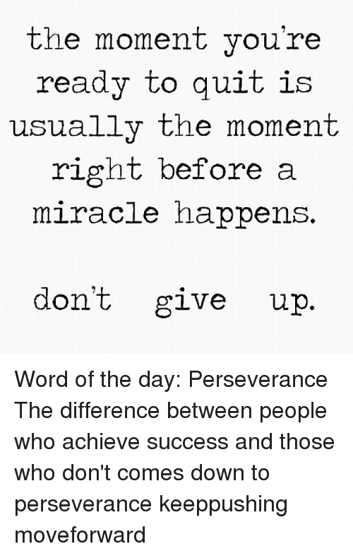 word of the day: the moment you're  ready to  quit is  usually the moment  right before a  miracle happens  don't give up Word of the day: Perseverance The difference between people who achieve success and those who don't comes down to perseverance keeppushing moveforward